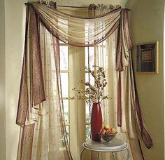 curtains two layers of sheer with softer blind behind