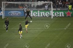 DONETSK, UKRAINE - FEBRUARY 13, 2013: Players Of Borussia Warming.. Stock Photo, Picture And Royalty Free Image. Pic 18114300.