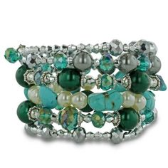 Turquoise, Pearl, and Iridescent Crystal Silver Tone Wrap Bracelet, Fits All Wrist Sizes SuperJeweler. $17.99. Handmade in China in the VenetianáMuranoáStyle. Length 7 in.. Save 64% Off!