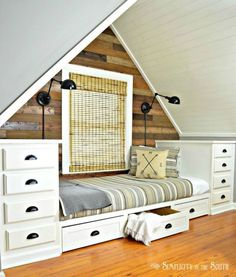 In an empty dormer space as a bed Create a gorgeous bed in a cozy nook from stock kitchen cabinets. (Simplicity in the South)