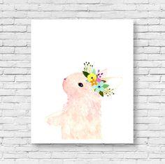 Watercolor rabbit Woodland nursery Animal Paintings door zuhalkanar