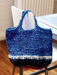 Plastic bag craft: Two crocheted tote bags - Make good use of leftover plastic shopping and grocery bags with these quick-to-crochet tote bags