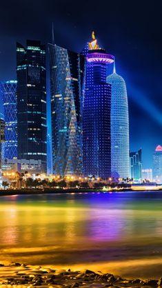 Doha Qatar Skyline #iPhone #5s #Wallpaper