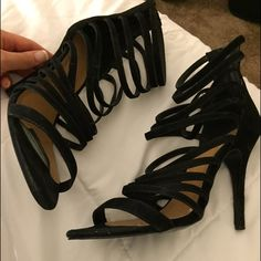 Nasty Gal Strappy Sandal Nasty Gal suede Strappy sandal. Great condition, other than mark on heel as pictured. Perfect for spring and summer evenings. Nasty Gal Shoes Heels