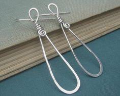 Long Teardrop Loop Sterling Silver Earrings by nicholasandfelice, $22.00
