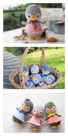Amigurumi Cute Penguin Free Pattern – Kostenlose Amigurumi-Muster – New Ideas Crochet Penguin, Crochet Bunny, Cute Crochet, Crochet Dolls, Crochet Geek, Beginner Crochet, Easy Crochet, Crochet Amigurumi Free Patterns, Crochet Animal Patterns