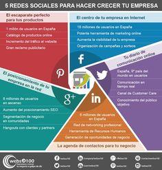 Hola: Una infografía con 5 Redes Sociales para hacer crecer tu empresa. Infografía realizada por Websa100 Un saludo