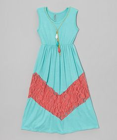 Loving this Teal & Coral Lace Sleeveless Dress - Girls on #zulily! #zulilyfinds