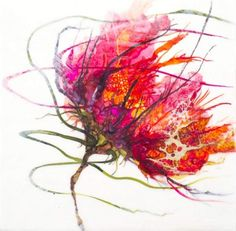 Tormey's flowers have a wonderful, swirly diaphanous quality as translucent strands float from and around them. Floral Flow: Alicia Tormey | artsy forager #art #watercolor #flowers #spring