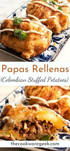 """Authentic Colombian meat stuffed potatoes """"papas rellenas"""" are a delicious and fulfilling breakfast. Crispy outside with soft mashed potatoes and well-seasoned meat inside. Mexican Food Recipes, Beef Recipes, Latin Food Recipes, Dinner Recipes, Cooking Recipes, Ethnic Recipes, Colombian Dishes, Colombian Cuisine, My Colombian Recipes"""