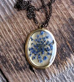 Pressed Blue Queen Anne's Lace Flower Necklace | This necklace is ready to impress, right out of the package.