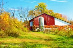 TITLE: Rustic Landscape Photography Red Barn in by FineArtography