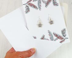 Star Earrings & Christmas Card Gift Combo, Small Xmas Gift, Mail Direct, Easy to Send Christmas Gift, Women's Gifts, Stylish Festive Jewelry