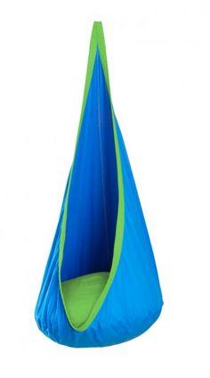 Schwingende Hängehöhle für Kinder - blau mit grünen Kontrasten - Kindercouchenland