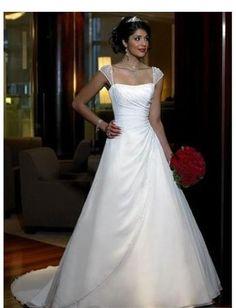 elegant straight neckline with beaded sleeves line skirt with chapel train line white wedding dress