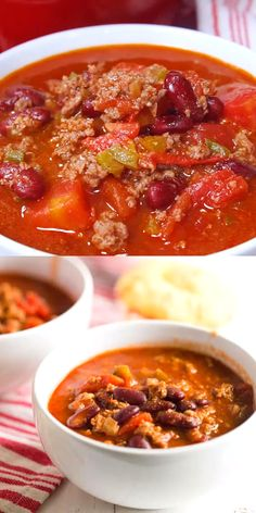 Old fashioned chili is the best! It is an easy, delicious, homemade meal that is ready in just half an hour. My simple recipe combines beef and beans with a robust tomato sauce and spices for a hearty Homemade Chilli Recipe, Chilli Recipes, Bean Recipes, Mexican Food Recipes, Soup Recipes, Cooking Recipes, Healthy Recipes, Simple Chili Recipe, Best Stovetop Chili Recipe