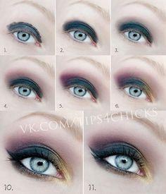 Step by step eye makeup – PICS. My collection Makeup Tips, Beauty Makeup, Hair Makeup, Makeup Ideas, Makeup Tutorials, Eyeshadow Tutorials, Makeup Set, Diy Beauty, Blue Makeup