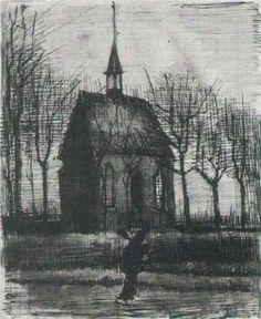 Vincent van Gogh, Church in Nuenen with One Figure, I feel oppression from this. Wonder if Van Gogh would agree with me. Rembrandt, Vincent Van Gogh, Van Gogh Drawings, Van Gogh Paintings, Dutch Artists, Famous Artists, Claude Monet, Desenhos Van Gogh, Henri De Toulouse-lautrec