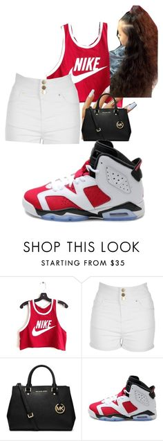 """""""this niderrica's work"""" by deasia-still-thugin-honey ❤ liked on Polyvore featuring beauty, NIKE, Jane Norman and MICHAEL Michael Kors"""
