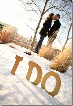 "This is technically TWO wedding projects revisited: our family wedding photo display and the ""I Do"" letters we used for our engagement pictures and our cake table. I spent so much time on the… Winter Engagement Photos, Engagement Photo Poses, Engagement Photo Inspiration, Engagement Couple, Engagement Shoots, Engagement Photography, Wedding Engagement, Wedding Photography, Engagement Ideas"