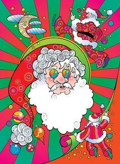 Christmas Digital Art - Psychedelic Santa Face by Steven Stines Art Christmas Presents, Christmas Art, Vintage Christmas, Bohemian Wallpaper, Santa Paintings, Bohemian Christmas, Pop Art Portraits, Santa Face, Alien Art