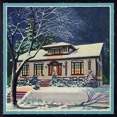 Dec 1926 Cover Illustration for American Builder - This is a pretty, festive image that appeared on the magazine's cover in There are initials, but no attribution. Artist is unknown. Vintage Christmas Images, Retro Christmas, Vintage Holiday, Christmas Pictures, Vintage Images, Christmas Scenes, Christmas Past, Vintage Prints, Vintage Art