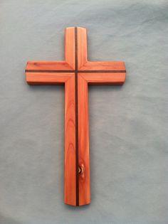 Hand Made Wood Cross made with Cedar and Peruvian Walnut