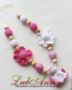 """Купить Слингобусы """"Ангел"""" (голубые и розовые) - вязаные бусы, детские бусы, Вязание крючком"""