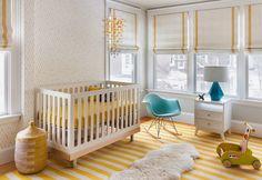 Cheerful yellow and white nursery by Mandarina Studio. Photo by Ben Gebo (via House of Turquoise).