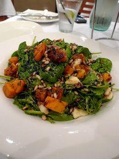 Betty's Bites: Spinach, rocket, roast pumpkin & pan fried haloumi salad with a honey & basalmic vinegar dressing