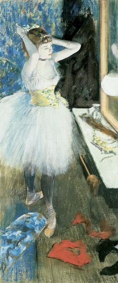 Edgar Degas (French, Post-Impressionism, 1834–1917): Dancer's Dressing Room, c. 1878. - Google Search