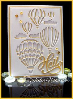 Card by Julie Warner (081715) [(dies) Serendipity Stamps Hello, Hot Air Balloon Reverse and Spellbinders A2 Matting Basics A&B; (stamps) Serendipity Stamps Cock-a-doodle-do (inside of card)]