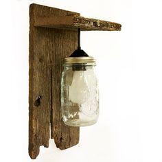 Mason Jar Light Wall Fixture - Barnwood - Wall Sconce - Lighting