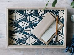 Small Wooden Serving Tray  Hand Screen Printed by keephousestudio