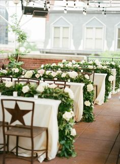 Green and white floral table runners #reception #centerpieces #tablerunner #7centerpieces