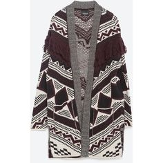 Zara Fringed Jacquard Cardigan (554.660 IDR) ❤ liked on Polyvore featuring tops, cardigans, jackets, zara cardigan, jacquard top, fringe cardigan, zara top and fringe top