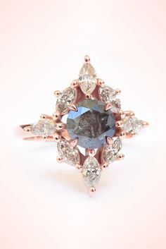 Natural Rustic / Black / Silver UNIQUE diamond engagement ring, set in rose gold one of a kind - Ready to ship - HANDMADE by Silly Shiny Diamonds