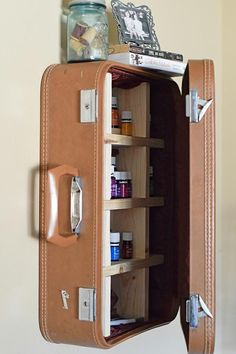 Cabinet made out of an old briefcase