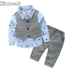 2017 Spring Baby Boy gentleman suit shirt + pants 2 piece long sleeve T-shirt boys pants children's clothes children's clothing Vest Outfits, Baby Outfits Newborn, Baby Boy Outfits, Kids Outfits, Spring Outfits, Baby Boy Fashion, Fashion Kids, Style Fashion, Trendy Fashion