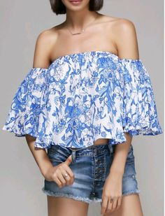 Floral blue off shoulder