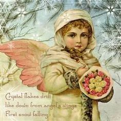 Crystal flakes drift like down from angel's wings first snow falling...