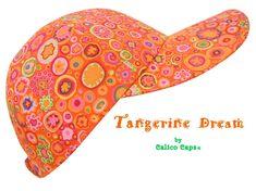 Tangerine Dream - Bright Orange Ladies Womens Adult Baseball Ball Cap - Hot Pink Yellow Green Circles Dots Stars Hat by Calico Caps® Pink Yellow, Hot Pink, Panama City Beach, Visors, Florida Usa, Baseball Cap, Circles, Dots, Bright