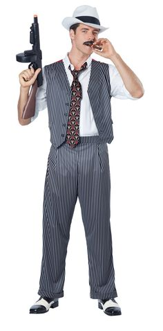 Adult Mens Pinstripe Daddy Gangster Suit 1920s 20s Fancy Dress Halloween Costume
