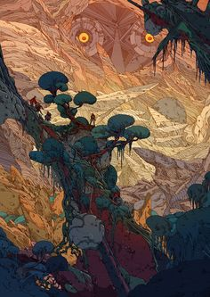 Kilian Futuristic Backdrops Contain Mystery, Engrossing Detail Swedish illustrator Kilian Eng creates vibrant, hyperdetailed works that hin. Mystery, Fantasy Landscape, Fantasy Art, Thriller, Kilian Eng, Ligne Claire, Art Et Illustration, Environment Concept, Art Graphique