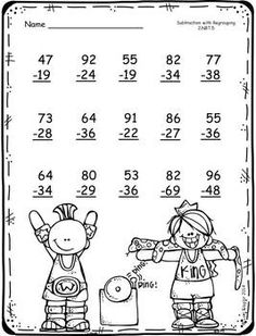 FREEBIE-Addition and Subtraction with Regrouping Printables by Lori Flaglor Math For Kids, Fun Math, Math Activities, Teaching Subtraction, Teaching Math, 1st Grade Math Worksheets, Math Sheets, Math Addition, Second Grade Math