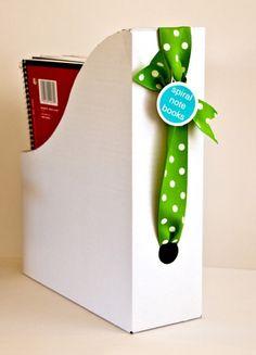 Love the idea of threading ribbon through magazine holders for labeling. by carmela