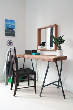 This reclaimed wood vanity table was a DIY project by this Apartment Therapy House Tour homeowner. The trestle legs are from IKEA. Industrial Furniture, Diy Furniture, Industrial Style, Furniture Plans, Furniture Cleaning, Industrial Lamps, Furniture Vintage, Recycled Furniture, Vintage Industrial