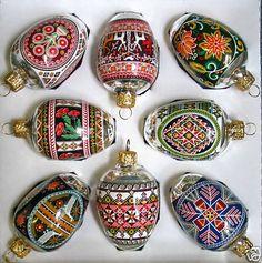 Ukrainian style inspired glass christmas ornaments