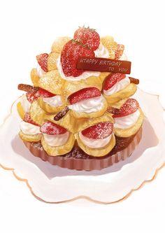 strawberry cream puff choux tower atop a chocolate tart Cake Drawing, Food Drawing, Dessert Drinks, Dessert Recipes, Desserts, Art Kawaii, Dessert Illustration, Food Sketch, Watercolor Food
