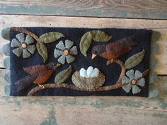 "Winding Vine Wanderings: Inspired by ""Home is Where the Heart Is"" by Bonnie Sullivan Wool Applique Quilts, Wool Applique Patterns, Wool Quilts, Wool Embroidery, Felt Applique, Felted Wool Crafts, Felt Crafts, Fabric Crafts, Penny Rug Patterns"